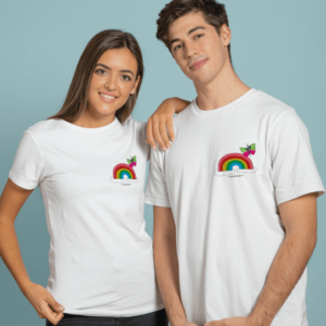 Two people wearing white t-shits with a rainbow and butterfly design on them