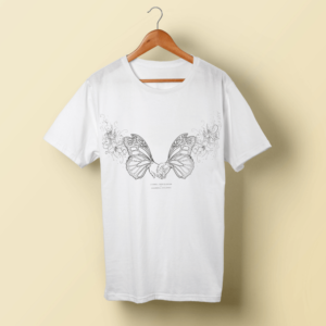 White t-shirt with two butterflies joining together with hands