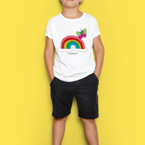 White t-shirt with a rainbow and butterfly design