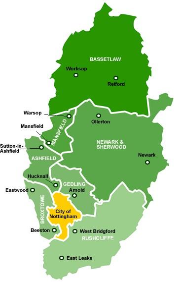 Nottingham Short Breaks Map