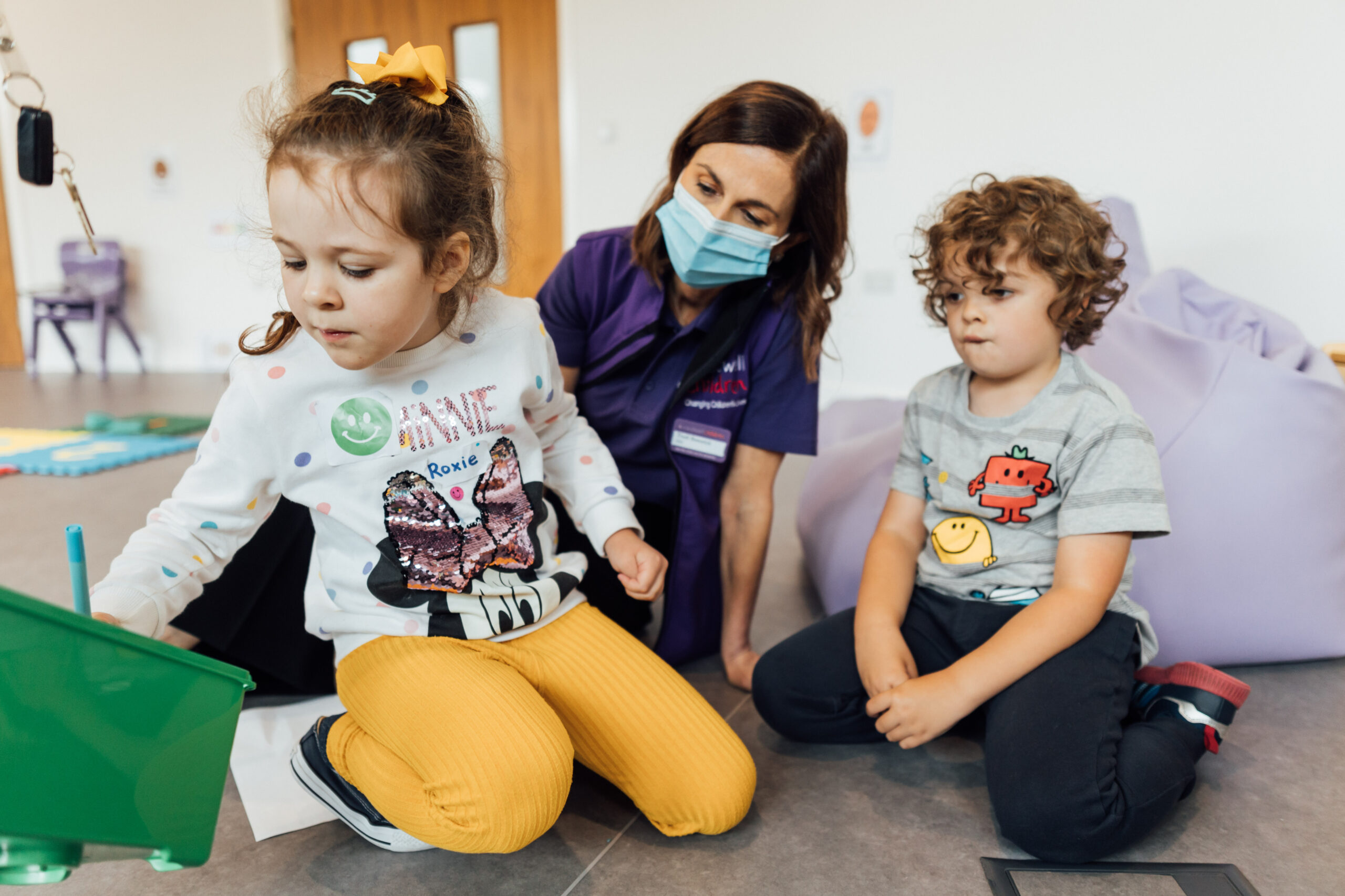 Caudwell Children CEO Trudi Beswick during a recent workshop for children at the Caudwell International Children's Centre, Keele